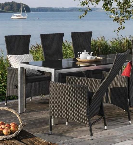 Home>it® 2 Polyrattan Sessel schwarz, verstellbar mit ...