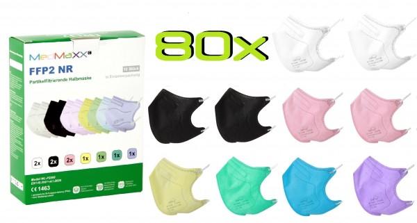 80x MedMaXX FFP2 NR Atemschutzmaske Größe S, auch für Kinder geeignet, bunt