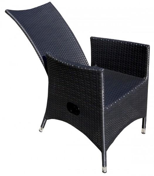 Home>it® Polyrattan Sessel schwarz, verstellbar mit ...