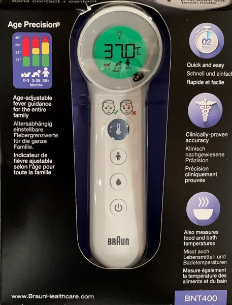 Braun BNT400WE No touch + Touch Thermometer mit Age Precision