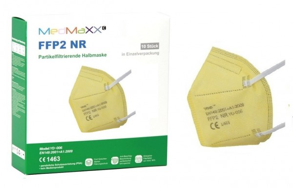 1x MedMaXX FFP2 NR Maske Größe XS, auch für Kinder geeignet, gelb