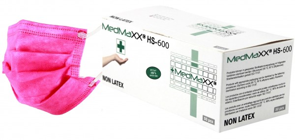 MedMaXX HS-600E-PI 3-lagige OP Maske Typ II EN 14683 pink 50 Stück