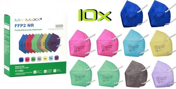 10x MedMaXX FFP2 NR Maske Größe XS, auch für Kinder geeignet, bunt