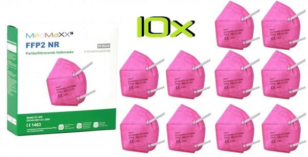 10x MedMaXX FFP2 NR Maske Größe XS, auch für Kinder geeignet, pink