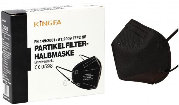 30x KingFA Profi FFP2 NR Atemschutzmaske CE 0598 EN 149:2001 Größe L schwarz