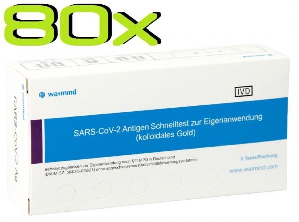 80x Watmind® SARS-COV2 Laien Antigen-Schnelltest Lutsch-Speichel ideal für die Schule